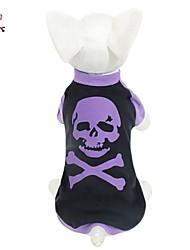 Katzen / Hunde T-shirt Purpur Hundekleidung Sommer Totenkopf Motiv Hochzeit / Cosplay