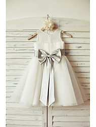 A-Line Knee Length Flower Girl Dress - Chiffon Tulle Sleeveless Scoop Neck by thstylee