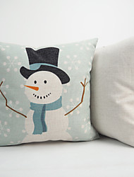 Cotton Linen Christmas Cartoon Printed Throw Pillow Case Cushion Cover Santa Claus Snowman Reindeer Decoration