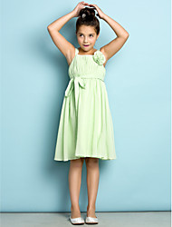 A-Line Straps Knee Length Chiffon Junior Bridesmaid Dress with Draping Flower(s) by LAN TING BRIDE®