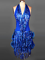 cheap -Latin Dance Dresses&Skirts Women's Training / Performance Spandex Sequin / Ruched / Tassel Sleeveless Dress / Samba