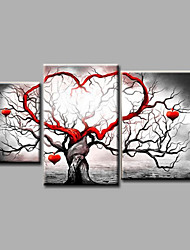 cheap -Ready to Hang Stretched Hand-Painted Oil Painting Canvas Wall Art Landscape Trees Modern Three Panels