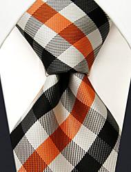 Men's Tie  Checked Orange Multicolor 100% Silk Business