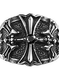 cheap -Men's Ring - Cross Unique Design, Vintage, Fashion 8 / 9 / 10 Black For Wedding / Party / Daily