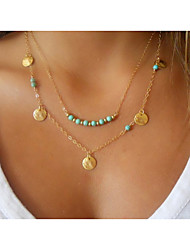 cheap -Women's Turquoise Pendant Necklace Layered Necklace - Double-layer Beaded Golden Necklace For Wedding Party Daily Casual