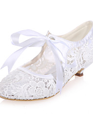 cheap -Women's Spring Summer Fall Lace Wedding Party & Evening Low Heel Black Pink Ivory White