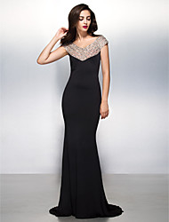 cheap -Mermaid / Trumpet V-neck Sweep / Brush Train Jersey Formal Evening Black Tie Gala Dress with Beading by TS Couture®