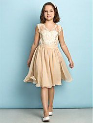 A-Line V-neck Knee Length Lace Junior Bridesmaid Dress with Lace by LAN TING BRIDE®