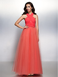 cheap -A-Line V Neck Floor Length Chiffon / Tulle Bridesmaid Dress with Pleats by LAN TING BRIDE® / Convertible Dress