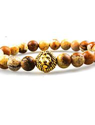 Women Men Fashion Bracelet Pulseras Mujer Black Lava Stone Lion Beads Bracelet