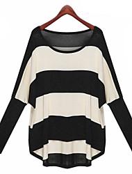 Women's Regular Pullover,Striped Black Round Neck Long Sleeve Cotton Others Fall Medium Micro-elastic