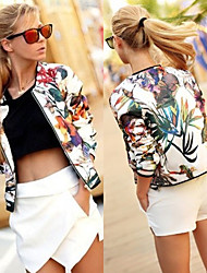 cheap -perfect Women's Print Multi-color Coats & Jackets , Sexy / Casual / Work Round Long Sleeve