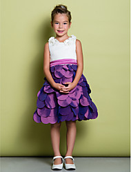 A-Line Knee Length Flower Girl Dress - Satin Taffeta Sleeveless Scoop Neck with Bow(s) Flower(s) by LAN TING BRIDE®