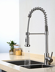 cheap -Kitchen faucet - Contemporary Art Deco / Retro Modern Nickel Brushed Tall / ­High Arc Standard Spout Pull-out / ­Pull-down Centerset