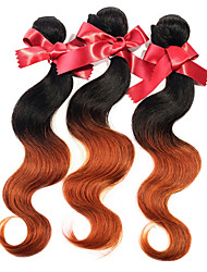 Feixes de tecido peruano corpo onda dois tons ombre t1b / 30 extensões de cabelo humano virgem peru 1pcs 50g / pcs