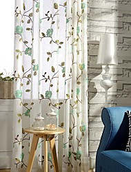 Two Panel Modern  Leaves and Blossoms Embroidered Cotton Energy Saving Curtains Drapes
