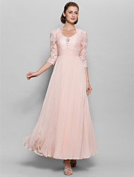 cheap -A-Line Sweetheart Ankle Length Chiffon Lace Mother of the Bride Dress with Lace Ruching Sequins by LAN TING BRIDE®