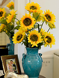 cheap -One Branch Three heads The Sitting Room Put Polyester Sunflowers Artificial Flowers