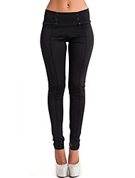 Women's Solid White / Black / Gray Straight Pants , Casual