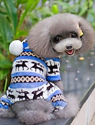 Cani Tuta Pigiami Blu Marrone Rosa Grigio Abbigliamento per cani Inverno Primavera/Autunno Fiocco di neve Divertente Casual