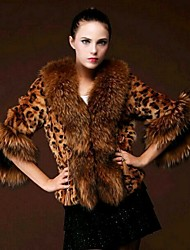 cheap -Women's Party/Cocktail Vintage Winter Fur Coat,Animal V Neck 3/4 Length Sleeves Regular Faux Fur
