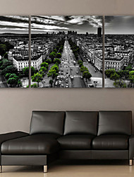 cheap -E-HOME® Stretched Canvas Art Overlooking The City's Street Landscape Decoration Painting  Set of 3