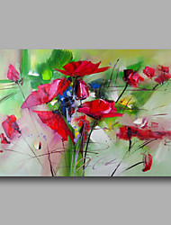 cheap -Ready to Hand Stretched Hand-Painted Abstract Modern Oil Painting Canvas  Red Roses Home Deco one Panel