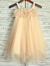 a-linea vestito ragazza fiore di lunghezza del tè - cinghie spaghetti sleeveless tulle con perline da thstylee