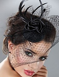 cheap -Rose Flower Black Lace Fascinators Hair Jewelry