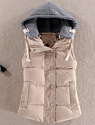 Standard Imbottito Da donna,Cappotto Semplice Tinta unita Poliestere Poliestere Senza maniche Con cappuccio