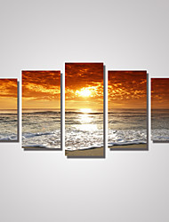 cheap -5 Panels Sunrise Seascape Picture Print on Canvas Unframed