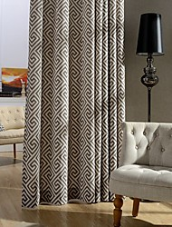 Rod Pocket Grommet Top Double Pleat Two Panels Curtain Country Modern Neoclassical , Print Bedroom Poly / Cotton Blend Material Curtains