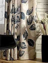 Rod Pocket Grommet Top Double Pleat Two Panels Curtain Country Modern Neoclassical , Print Leaf Bedroom Poly / Cotton Blend Material