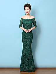 baratos -Sereia Ombro a Ombro Longo All Over Lace Evento Formal Vestido com Ziper de LAN TING Express