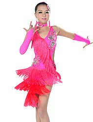 cheap -Latin Dance Outfits Performance Polyester Spandex Tassel Sleeveless Dress Sleeves Neckwear Headwear