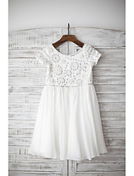 cheap -Sheath / Column Knee Length Flower Girl Dress - Chiffon Short Sleeves Scoop Neck with Lace by LAN TING Express