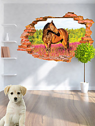 billige -Landskab Dyr Romantik Mode Former Jul 3D Tegneserie Botanisk Vægklistermærker 3D mur klistermærker Dekorative Mur Klistermærker, Vinyl