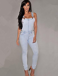 Women's Solid Blue Slim Denim Suspender Pant , Casual / Cute