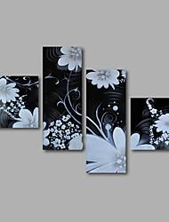Недорогие -Ручная роспись Цветочные мотивы/ботанический Любые формы, Modern холст Hang-роспись маслом Украшение дома 4 панели