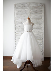 A-Line Asymmetrical Flower Girl Dress - Lace Satin Tulle Sleeveless Straps with Beading by thstylee