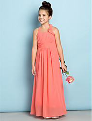 cheap -Sheath / Column Halter Neck Ankle Length Chiffon Junior Bridesmaid Dress with Side Draping by LAN TING BRIDE® / Natural / Mini Me