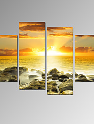 VISUAL STAR®Sea Sunrise Sunset Picture Print on Canvas Framed and Stretched Seascape Canvas Art