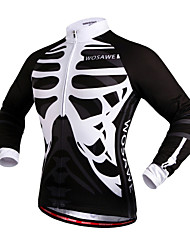 WOSAWE Cycling Jersey Unisex Bike Jersey Top Bike Wear Windproof Reflective Strips Back Pocket Skulls Camping / Hiking Exercise & Fitness