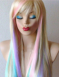 abordables -Pelucas sintéticas Recto Rubio Con flequillo Pelo sintético Pelo reflectante / balayage Rubio Peluca Mujer Larga Sin Tapa