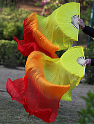 Hot Selling Belly Dance 100% Real Silk Fan Veils Silk Fabric Veils Yellow-Orange-Red 2pcs/L+R