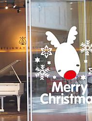 cheap -Window Stickers Window Decals Style New Year Snow Moose Window Glass Decoration PVC Window stickers