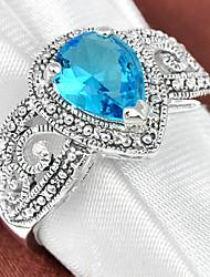 baratos -Mulheres Anel de declaração - Prata Chapeada 7 / 8 / 9 Vermelho / Verde / Azul Claro Para Casamento / Festa / Diário