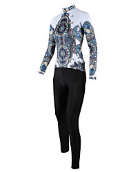 cheap -ILPALADINO Women's Long Sleeves Cycling Jersey with Tights - White/Black Floral / Botanical Bike Clothing Suits, Quick Dry, Breathable