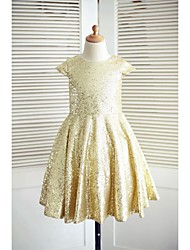 cheap -A-Line Knee Length Flower Girl Dress - Sequined Short Sleeves Jewel Neck with Sequins by LAN TING BRIDE®