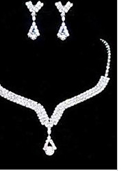 Lucky Doll Women's All Matching 925 Silver Plated Zirconia geometry Long Tassel Necklace & Earrings Jewelry Sets